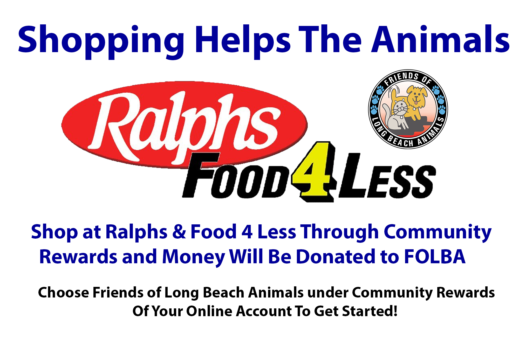 Donate to FOLBA through Ralphs & Food4Less