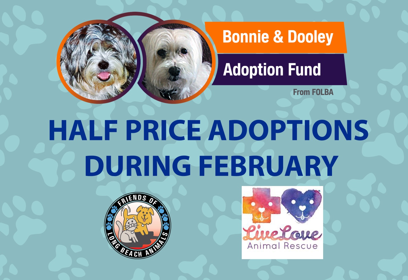 Half Priced Adoption Fees During February from FOLBA